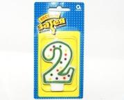 """Свеча - цифра """"2"""" 7,6 см"""