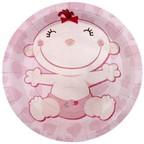 Тарелки бумажные ламинированные С днем Рождения, Малыш розовые
