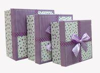 """Набор коробок 3 в 1 """"Презент"""" Фиолетовый бант / квадрат"""